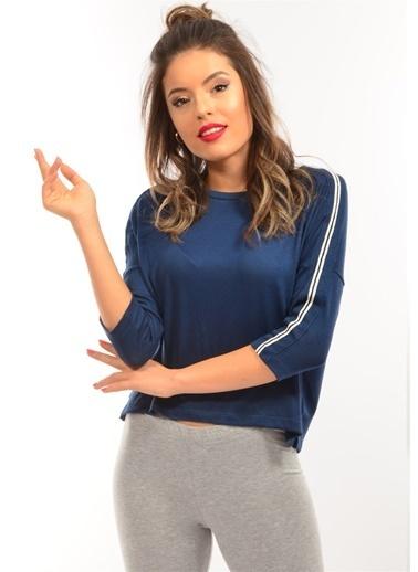Modaplaza Kadın Kolları Şeritli İndigo Bluz Mavi
